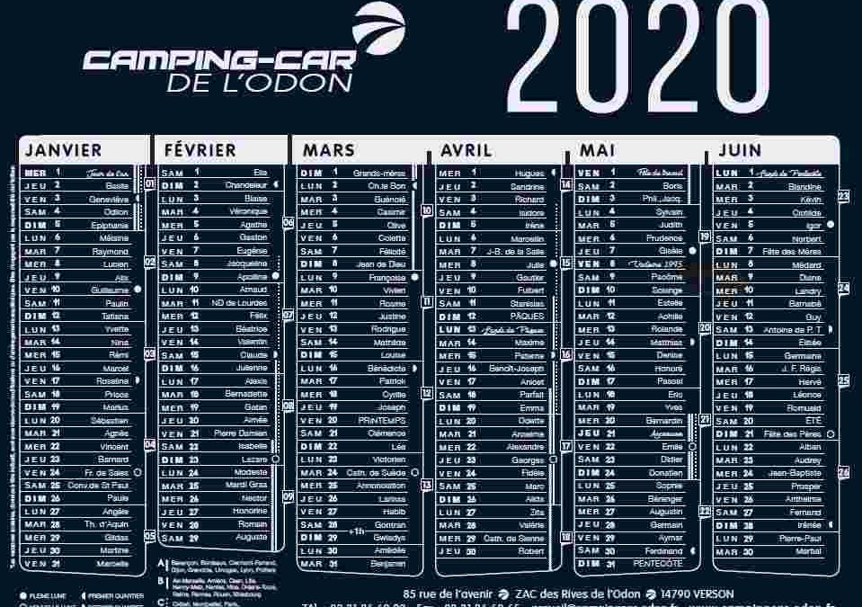 Calendrier 2020 disponible !